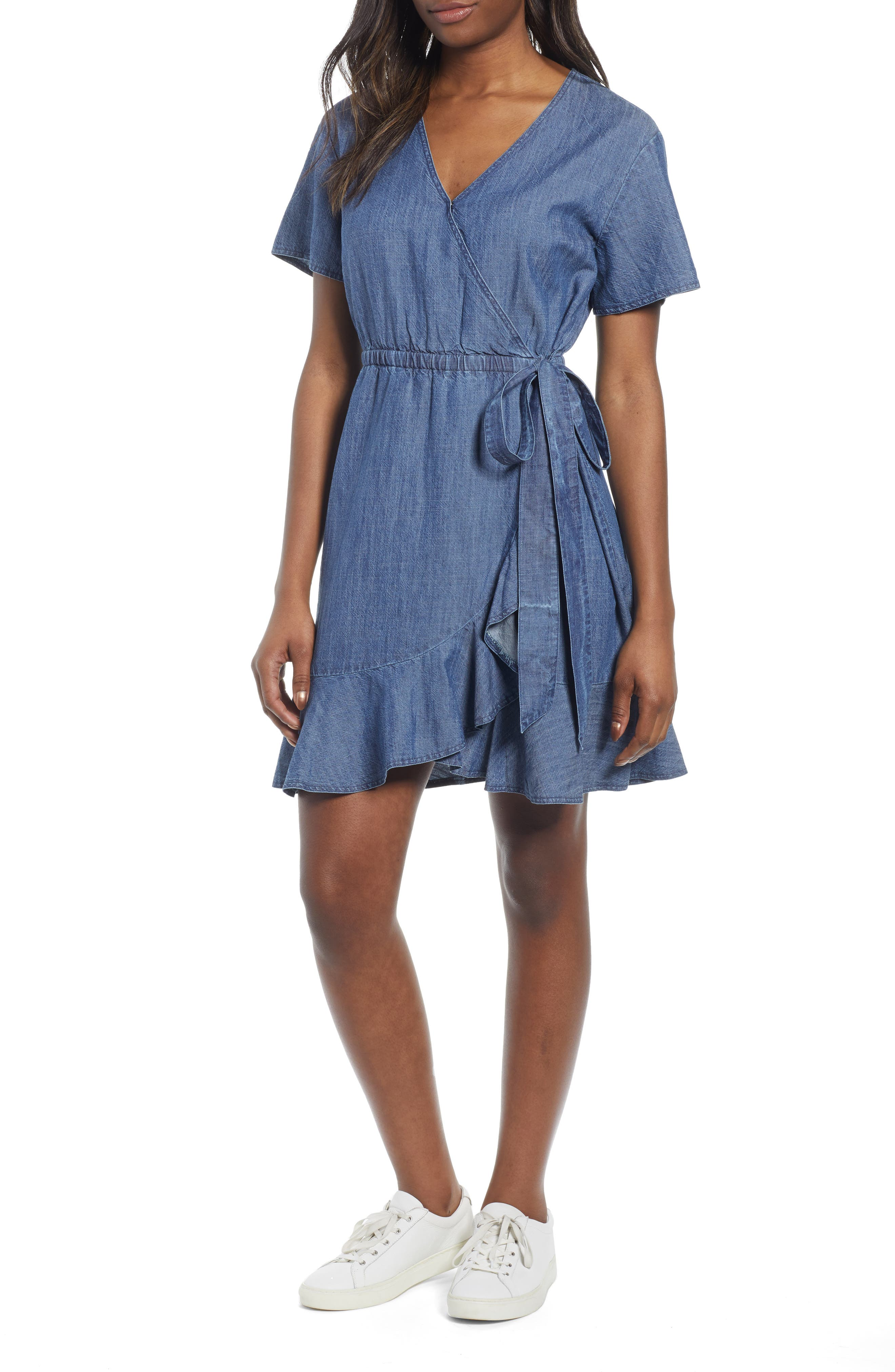 Caslon Ruffle Trim Wrap Dress, Blue