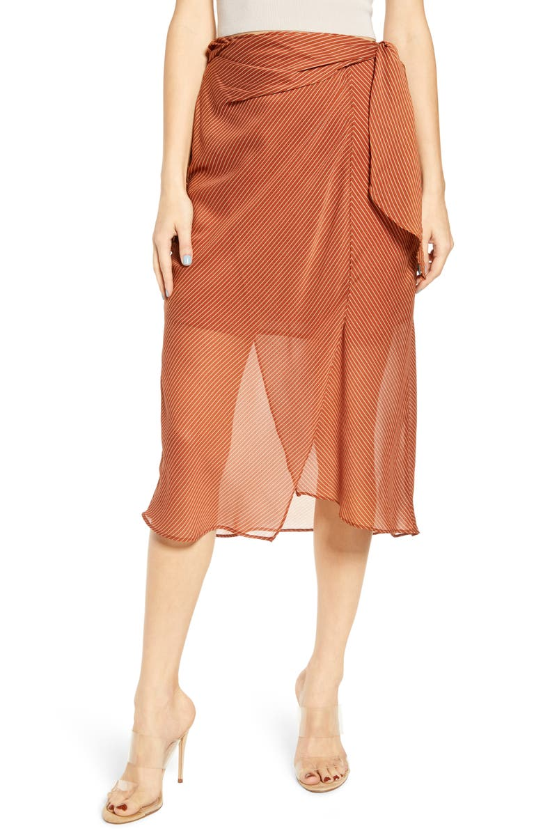J.O.A. Striped High/Low Midi Skirt, Main, color, SIENNA MULTI