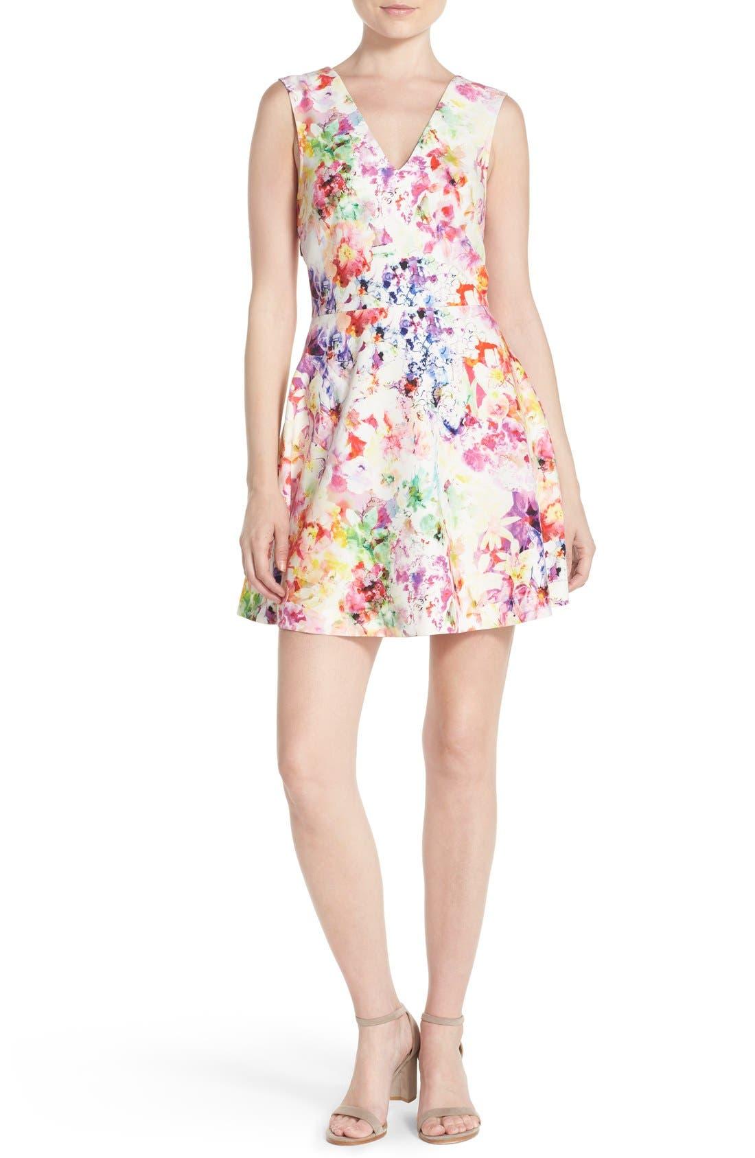 ,                             Bianca Back Cutout Fit & Flare Dress,                             Alternate thumbnail 69, color,                             663
