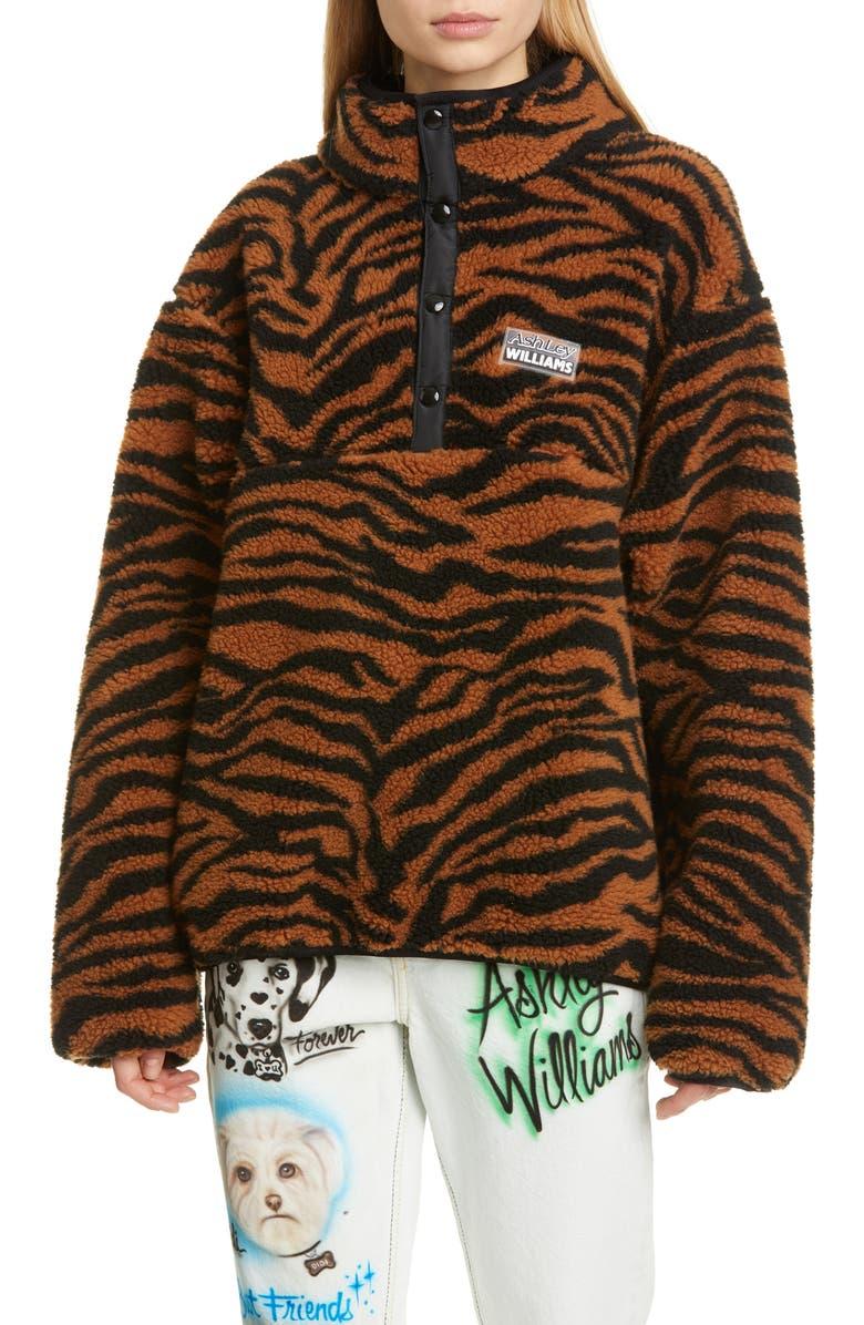 ASHLEY WILLIAMS Juju Tiger Print Fleece Jacket, Main, color, TIGER