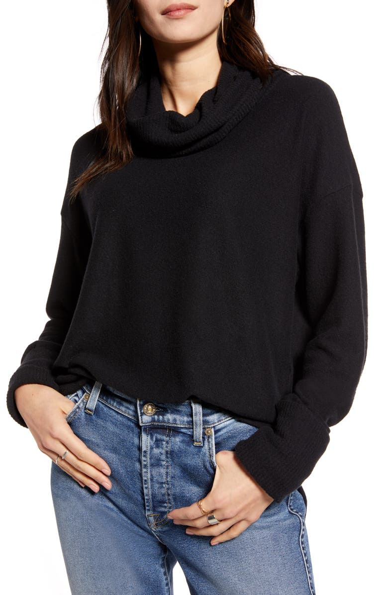 TREASURE & BOND Cowl Neck Pullover, Main, color, BLACK