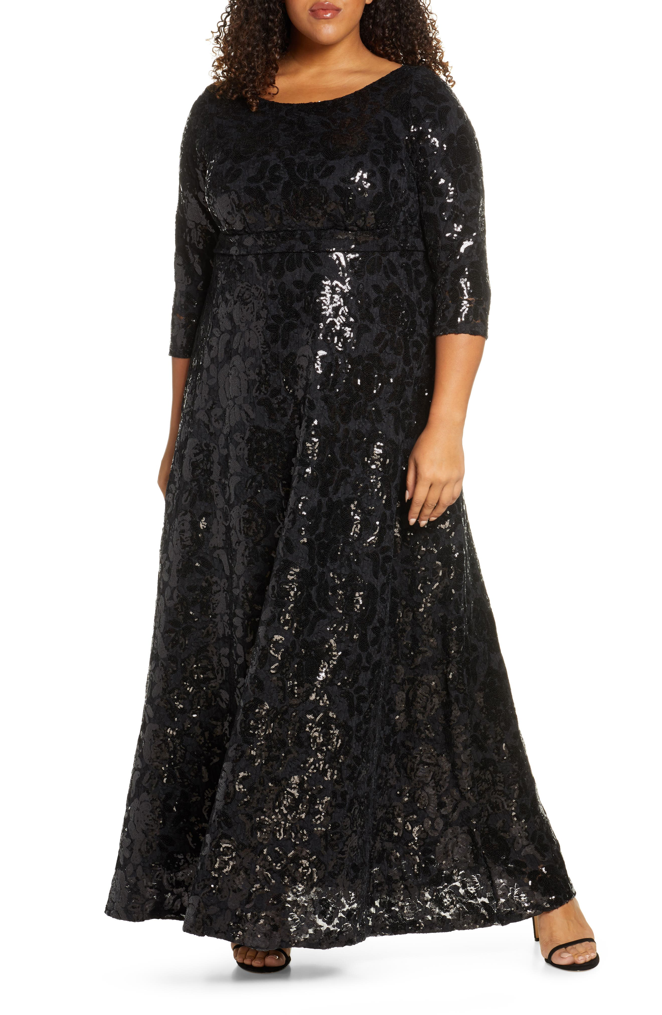 70s Prom, Formal, Evening, Party Dresses Plus Size Womens Kiyonna Socialite Sequin Floral Gown $348.00 AT vintagedancer.com