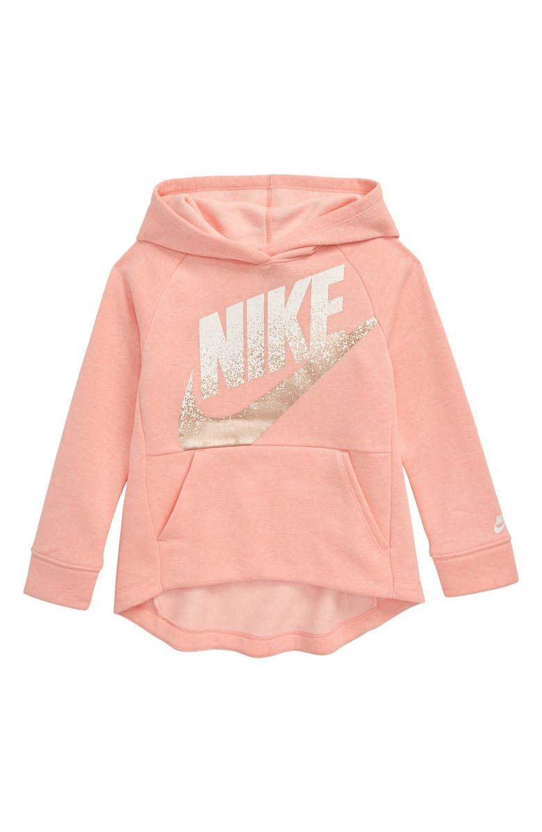NIKE Sportswear Shine Spray Logo Fleece Hoodie, Main, color, BLEACHED CORAL HEATHER