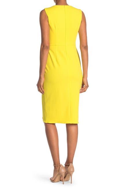Image of Maggy London Jewel Neck Faux Wrap Sheath Dress
