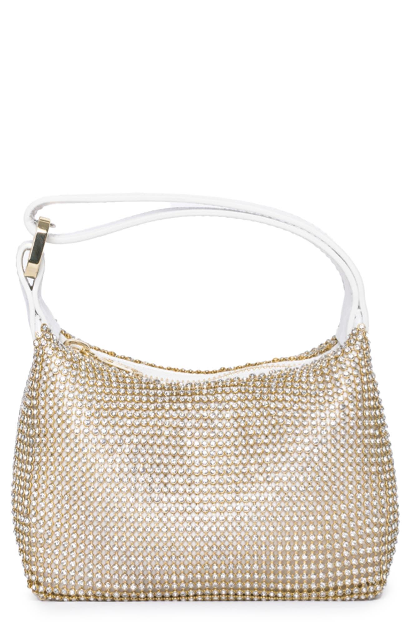 Eera Mini Moonbag Crystal Mesh & Leather Handbag