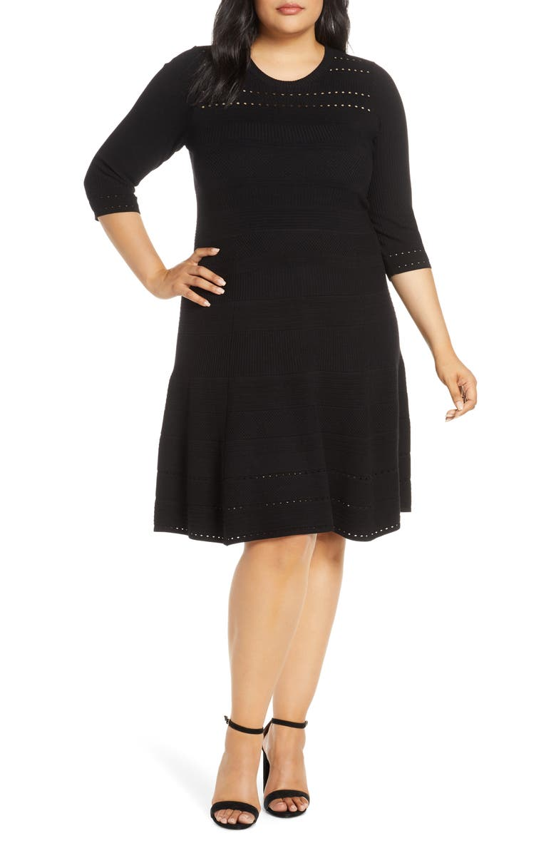 ELIZA J Jacquard Knit Fit & Flare Dress, Main, color, BLACK