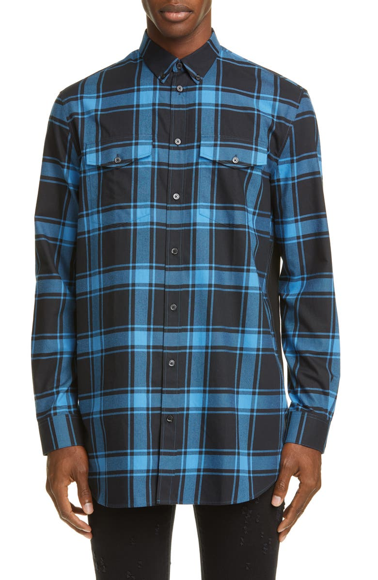 GIVENCHY Classic Check Button-Down Shirt, Main, color, BLACK/BLUE