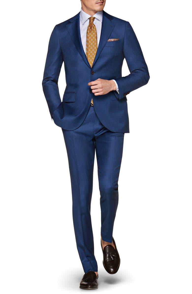 SUITSUPPLY Lazio Slim Fit Solid Wool Suit, Main, color, BLUE