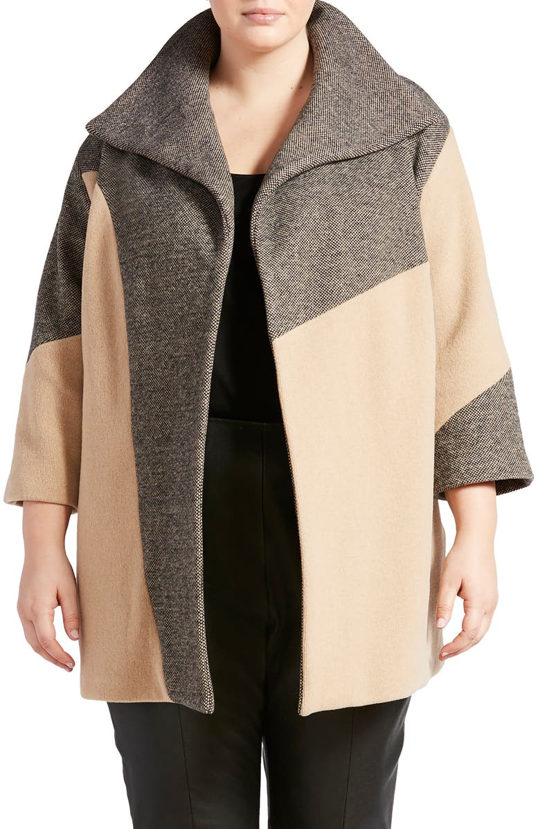 PARI PASSU Colorblock Coat, Main, color, BLACK/ CAMEL