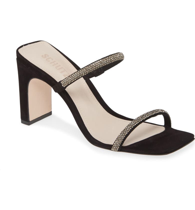 SCHUTZ Salwa Slide Sandal, Main, color, BLACK SUEDE