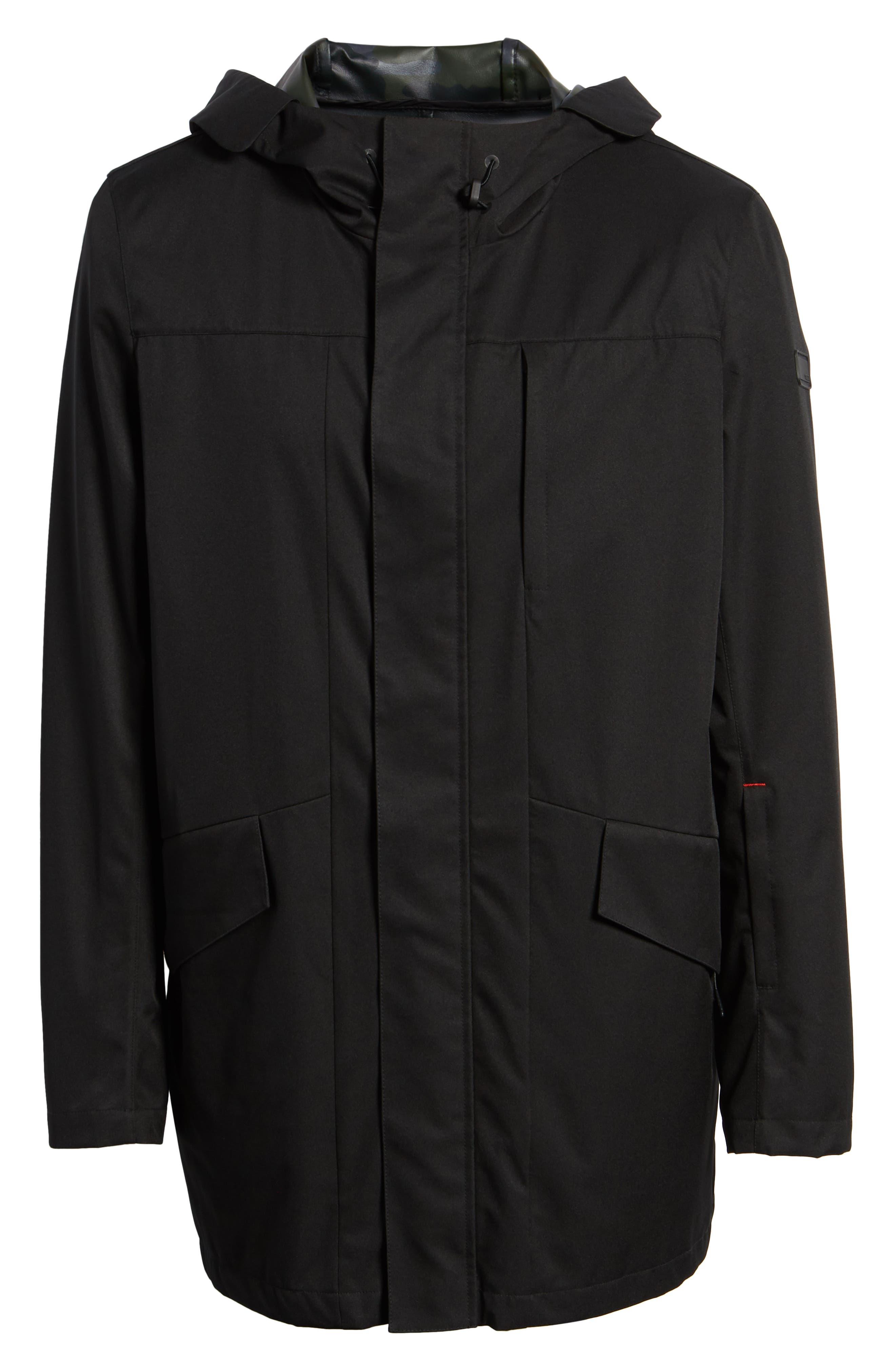 ,                             Packable Water-Resistant Raincoat,                             Alternate thumbnail 7, color,                             BLACK