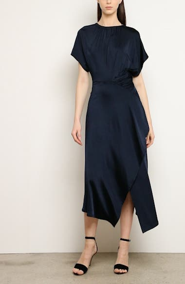 Shirred Waist Asymmetrical Jersey Midi Dress, video thumbnail