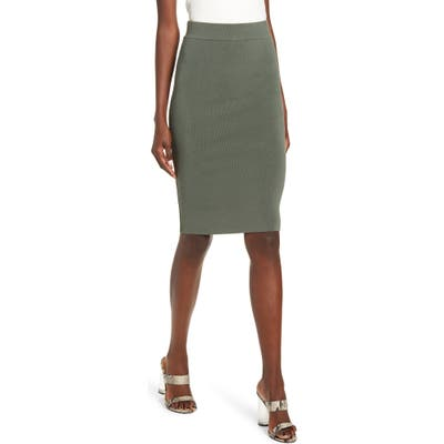 Leith High Waist Body-Con Skirt, Green