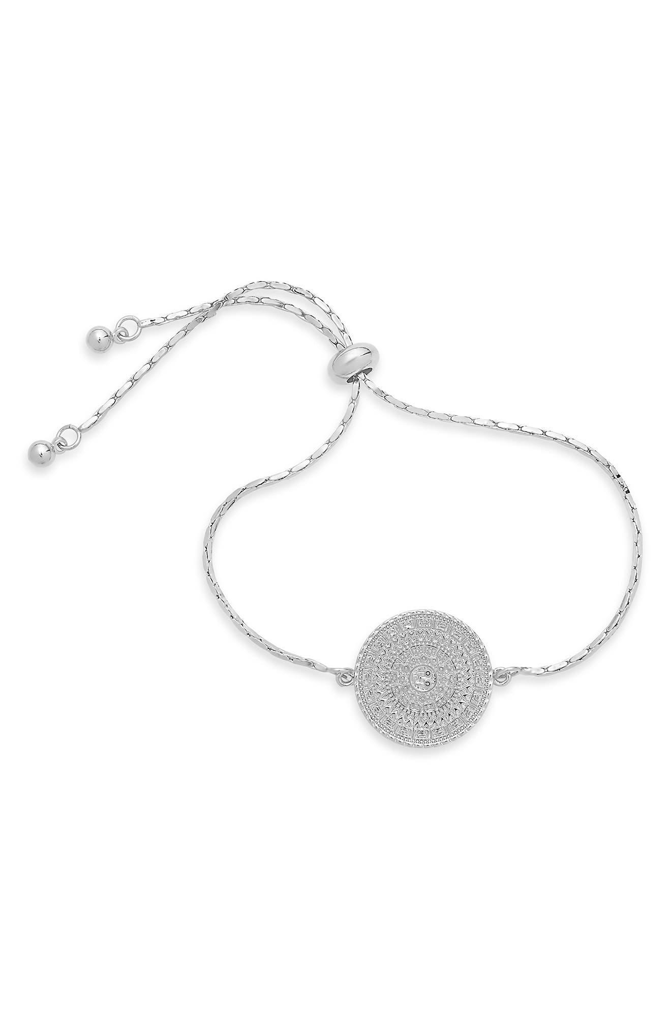 Detailed designs gleam on the medallion pendant of this adjustable and versatile bracelet. Style Name: Sterling Forever Medallion Slider Bracelet. Style Number: 5868276. Available in stores.