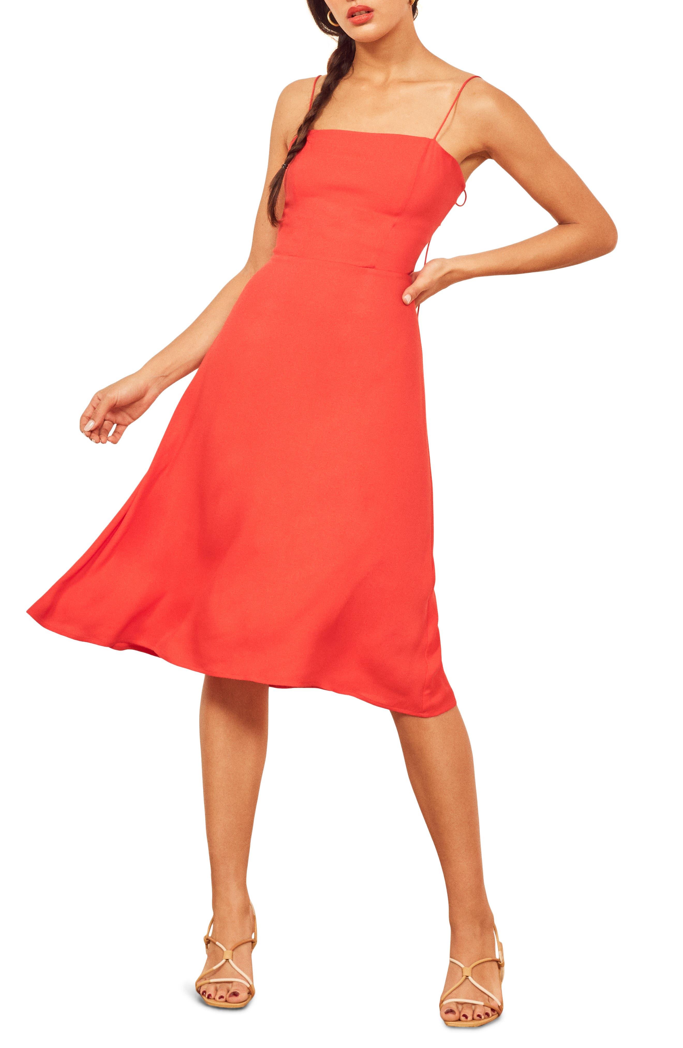 Reformation Peach Midi Dress, Red