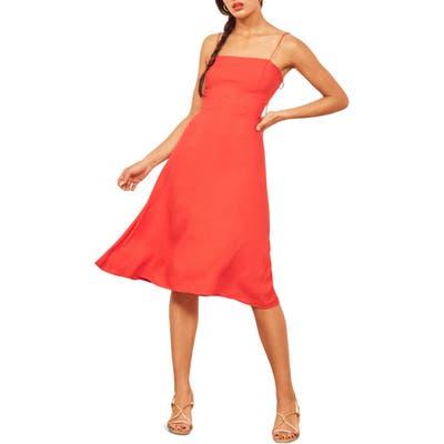 Reformation Peach Midi Dress