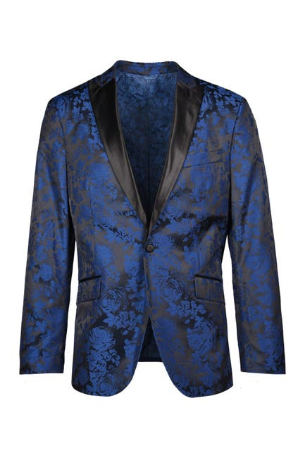 Image of SAVILE ROW CO Blue Fancy Slim Fit Satin Peak Lapel Evening Jacket