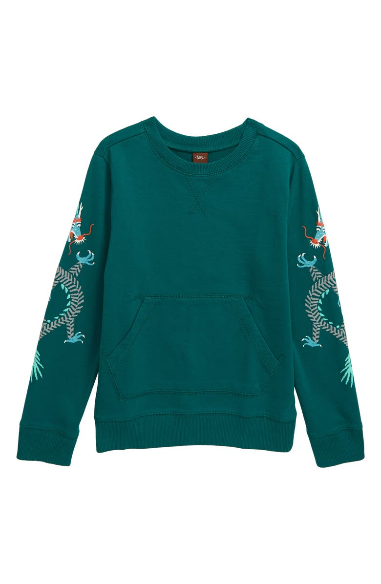 TEA COLLECTION Dueling Dragons Graphic Sweatshirt, Main, color, RAINFOREST