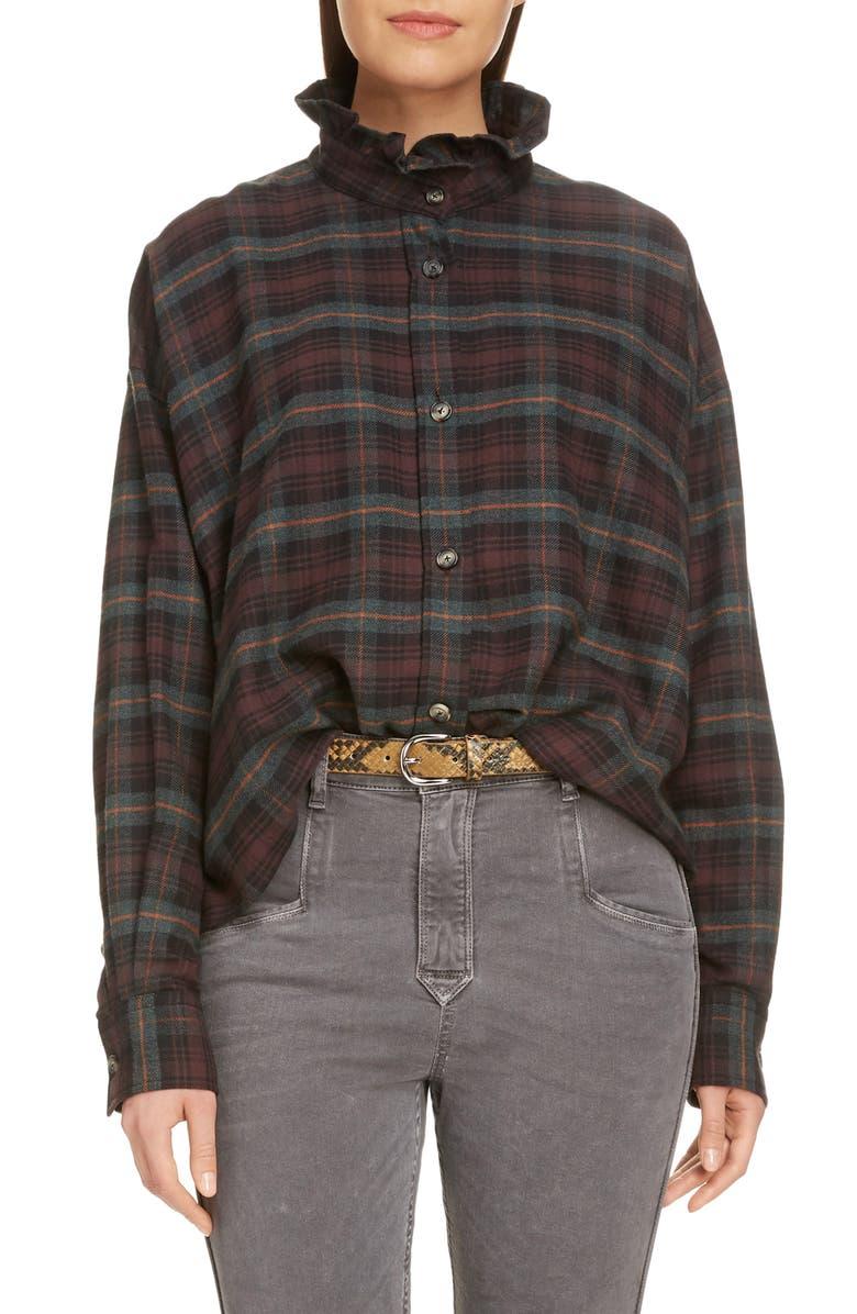 ISABEL MARANT ÉTOILE Ilaria Ruffle Neck Plaid Shirt, Main, color, 220