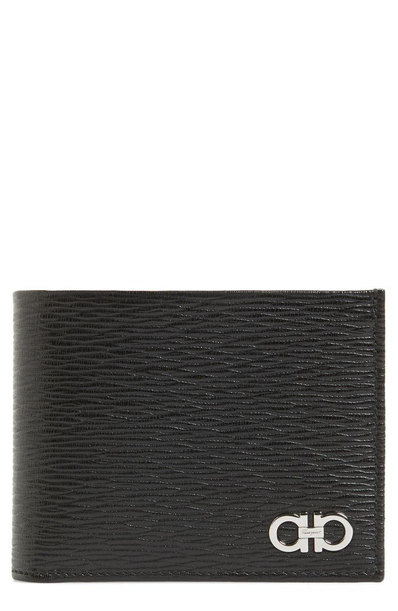 SALVATORE FERRAGAMO Revival Leather Card Case, Main, color, BLACK