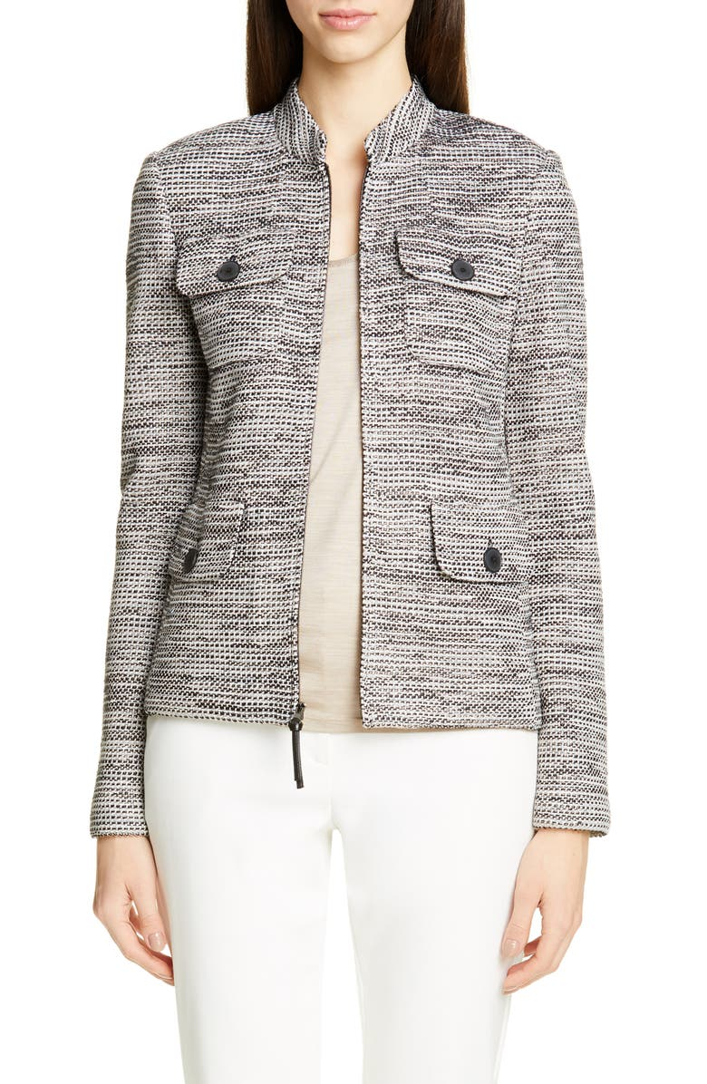 ST. JOHN COLLECTION Modern Ribbon Tweed Knit Jacket, Main, color, WHITE/ CASHEW/ CAVIAR