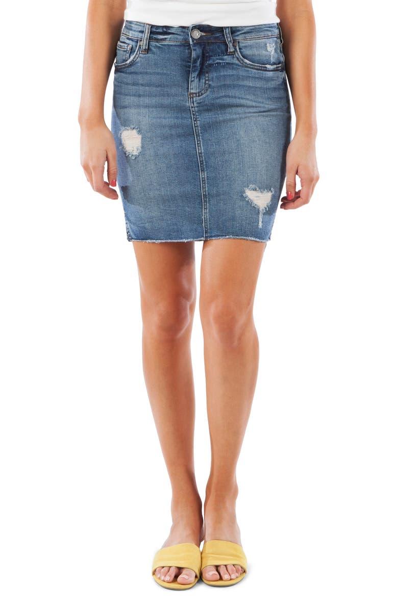 KUT FROM THE KLOTH Connie Fray Step Hem Denim Skirt, Main, color, 400