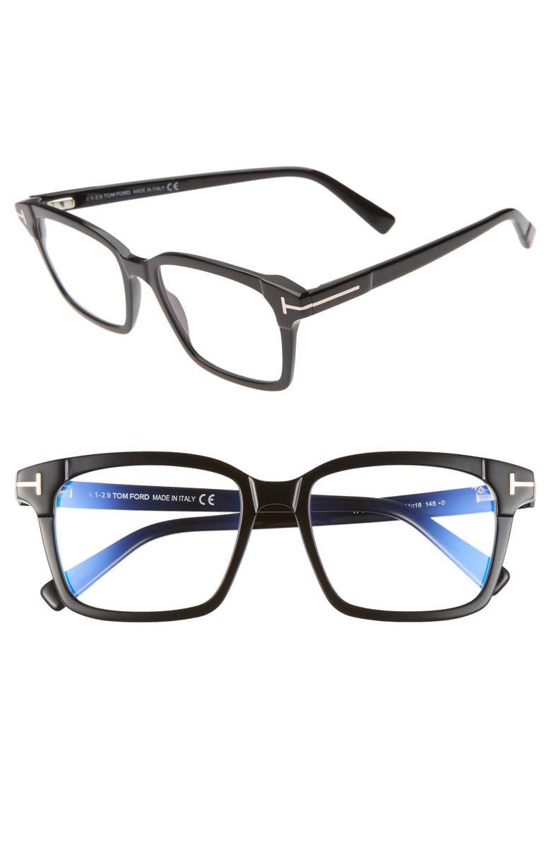 TOM FORD 54mm Blue Light Blocking Square Optical Glasses, Main, color, BLACK
