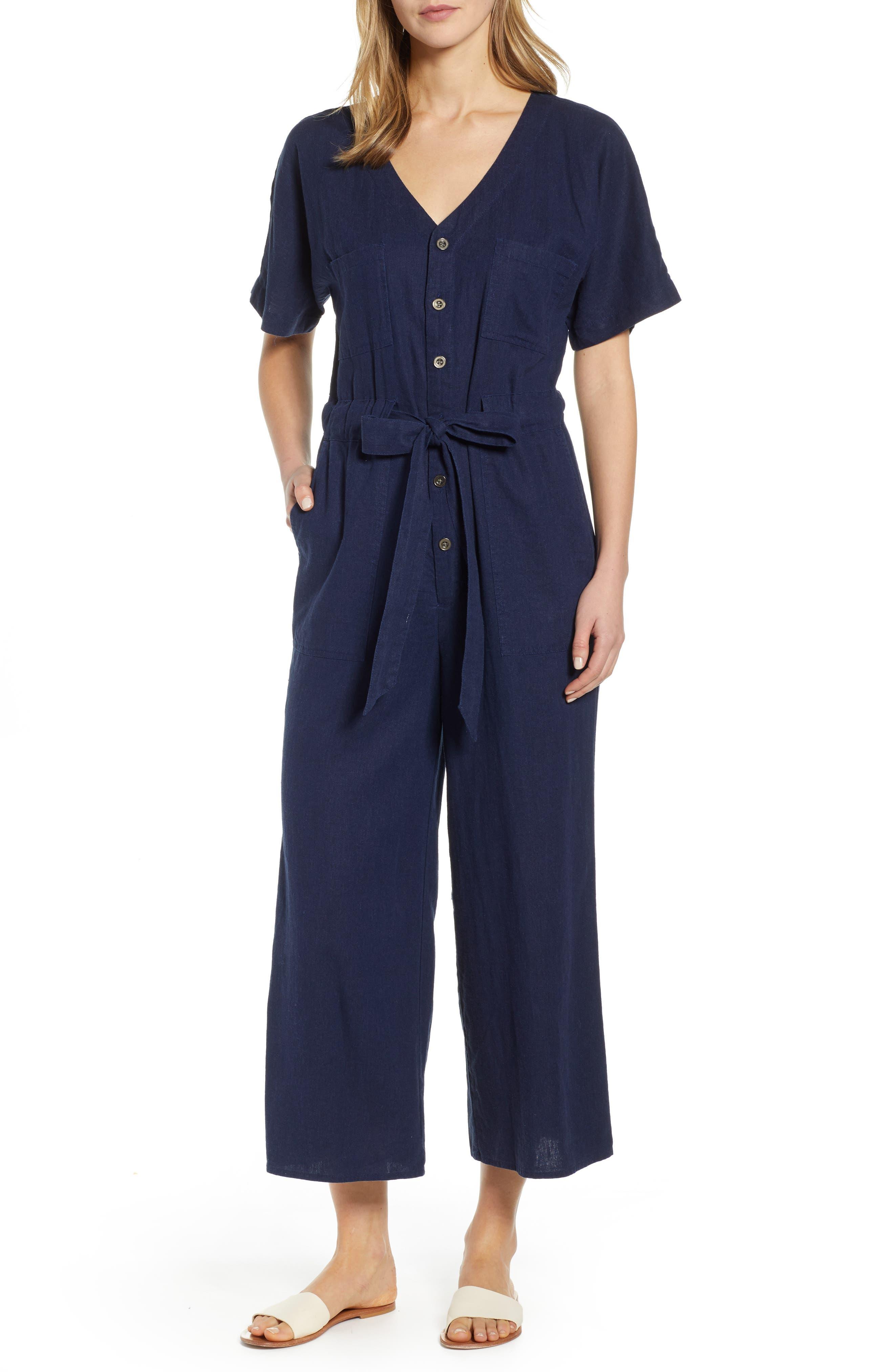 Petite Caslon Linen Blend Jumpsuit, Blue