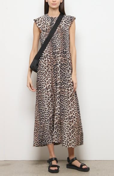 Ruffle Collar Leopard Print Maxi Dress, video thumbnail