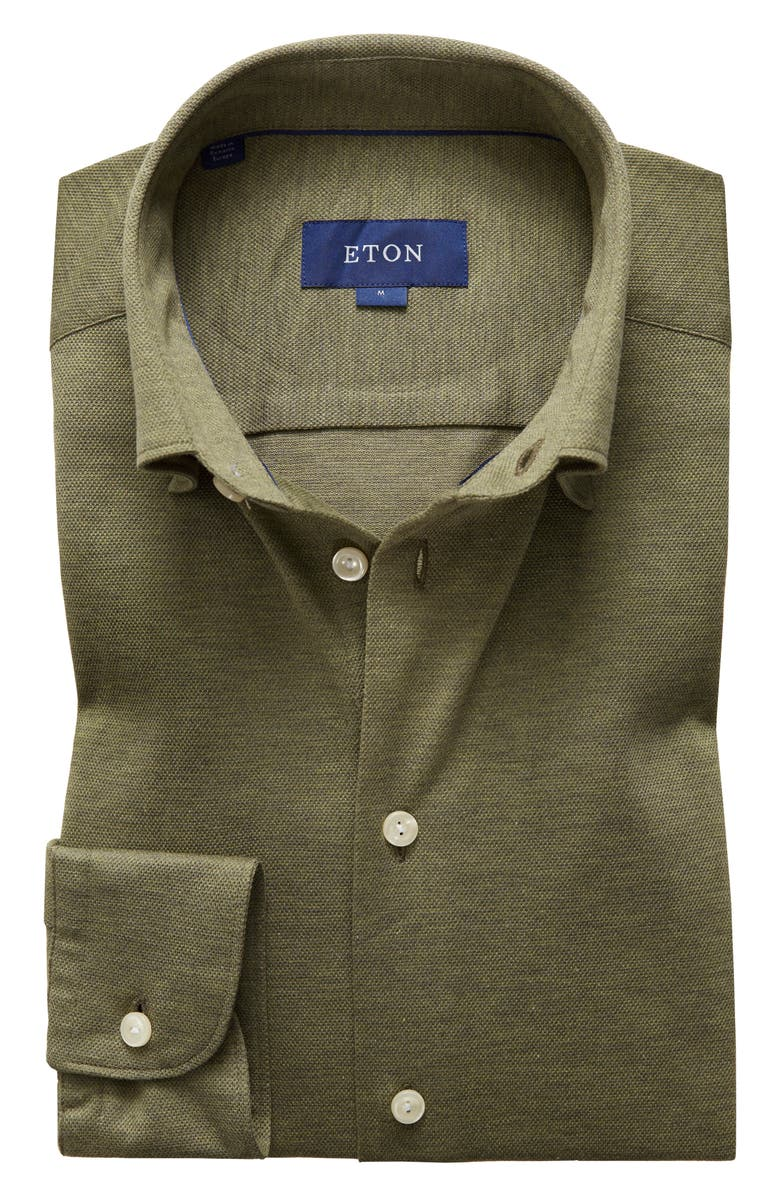 ETON Soft Casual Line Slim Fit Piqué Knit Shirt, Main, color, GREEN