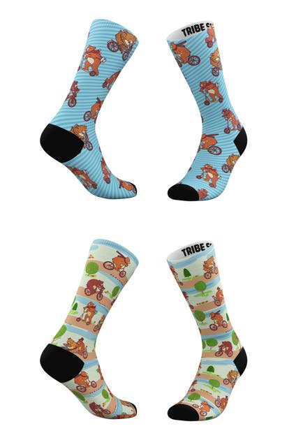Tribe Socks Socks ASSORTED 2-PACK BEARABLE COMMUTE & BLUEBEARY CREW SOCKS