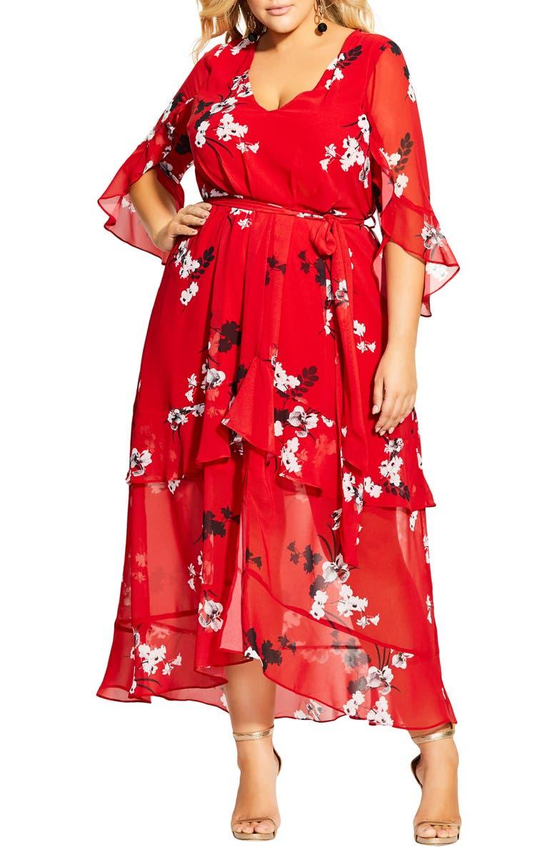 CITY CHIC Vixen Floral Ruffle Tiered Maxi Dress, Main, color, VIXEN FLORAL