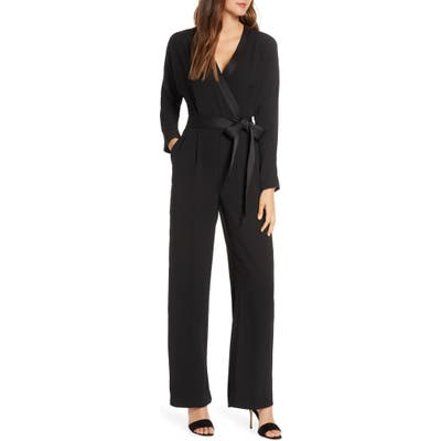 Eliza J Long Sleeve Wrap Jumpsuit, Black