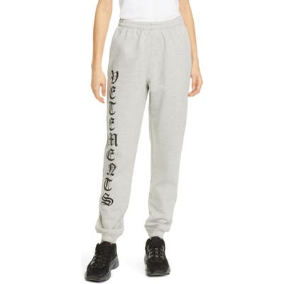 Vetements Gothic Logo Sweatpants, Grey