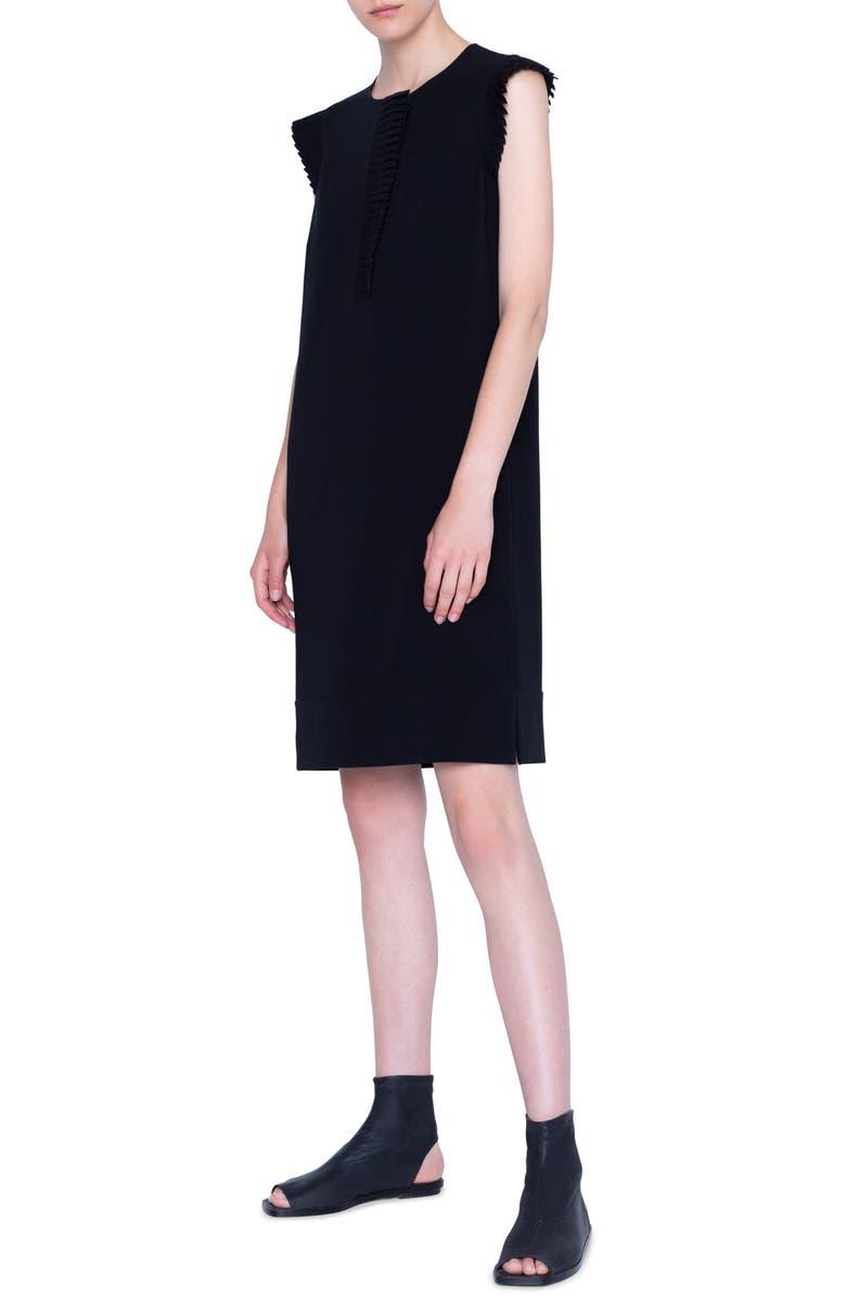 AKRIS PUNTO Plissé Trim Sleeveless Crepe Dress, Main, color, BLACK