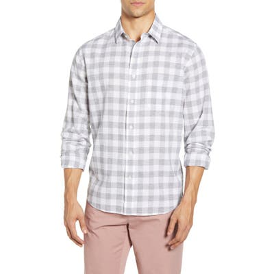 Faherty Movement Check Button-Up Performance Shirt, Grey