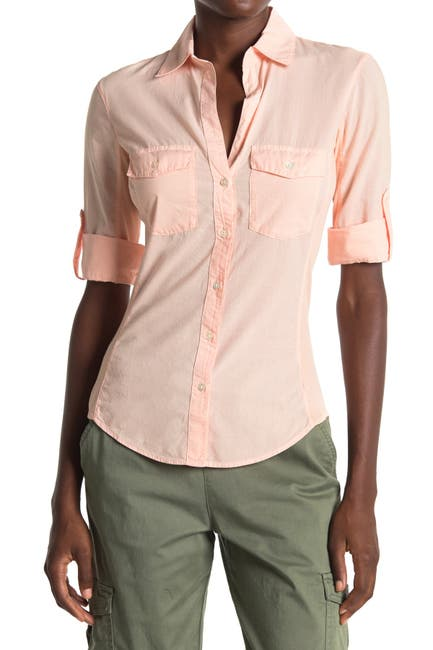 Image of James Perse Contrast Ribbed Surplus Shirt