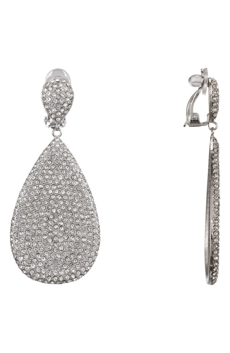NINA Teardrop Pavé Earrings, Main, color, RHODIUM/ WHITE CRYSTAL