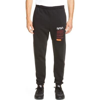 Heron Preston Nasa Slim Fit Embroidered Sweatpants, Black