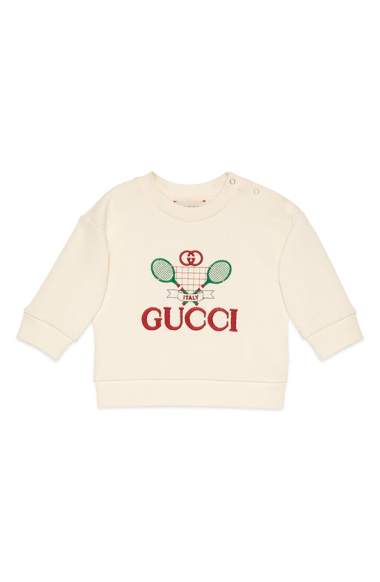 GUCCI Embroidered Tennis Sweatshirt, Main, color, IVORY MULTI
