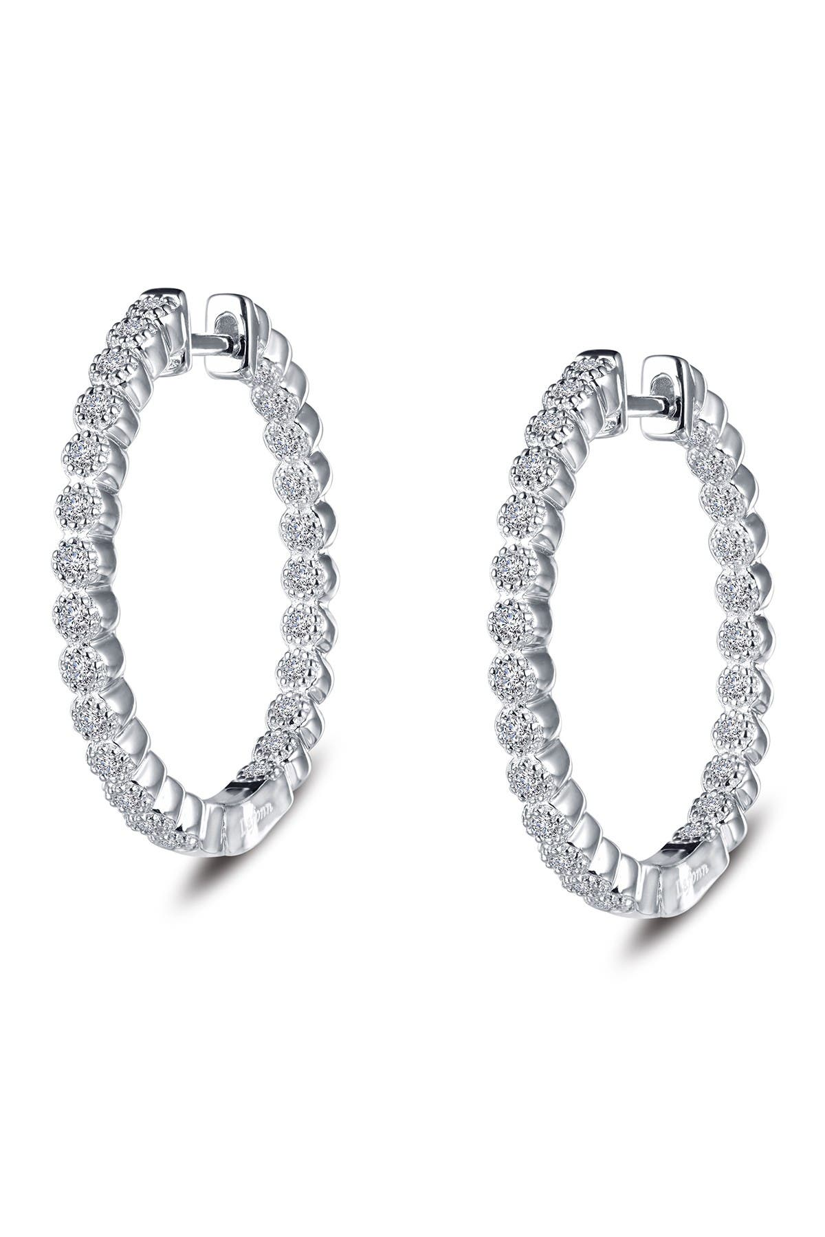 Image of LaFonn Platinum Plated Sterling Silver Simulated Diamonds Accented Hoop Earrings