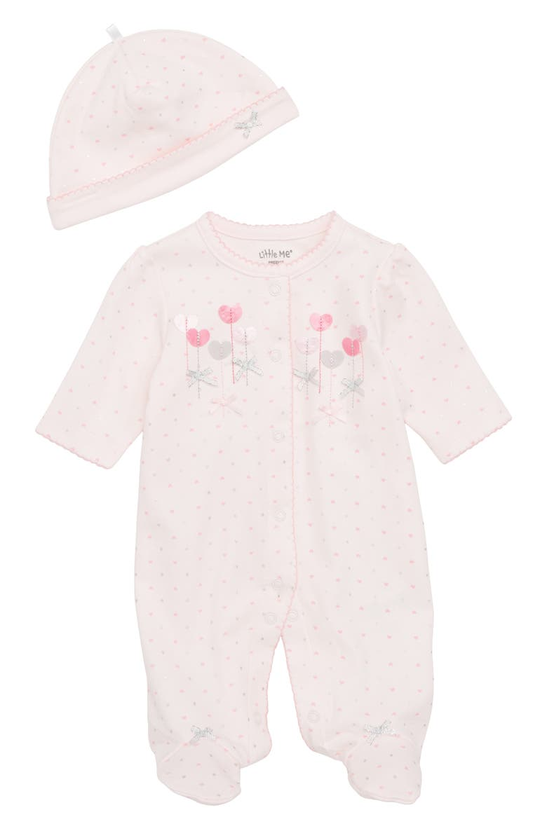 LITTLE ME Sweetheart Footie & Matching Cap, Main, color, 660