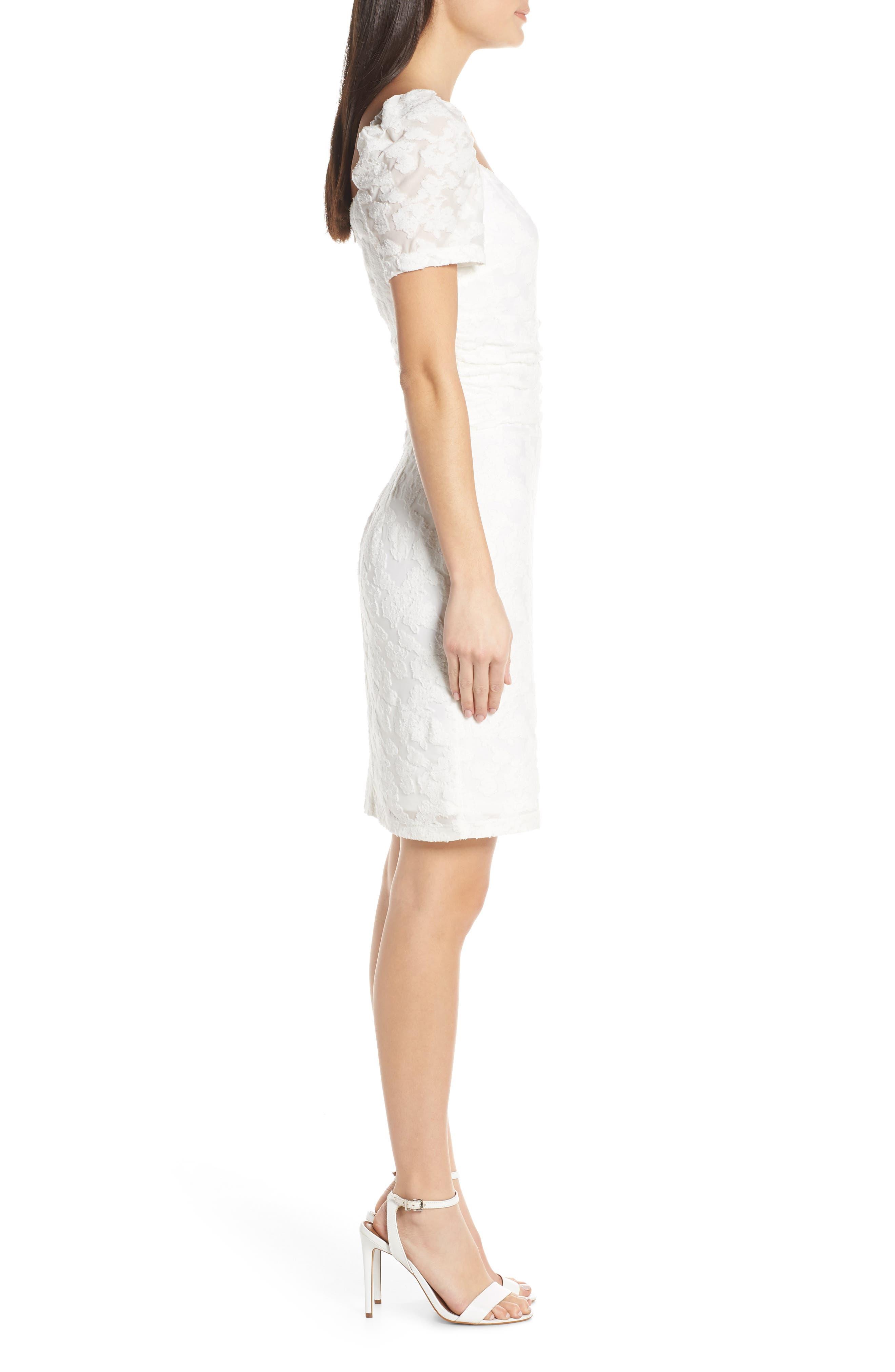 ,                             Big Mistake Short Sleeve Sheath Dress,                             Alternate thumbnail 4, color,                             WHITE FLORAL