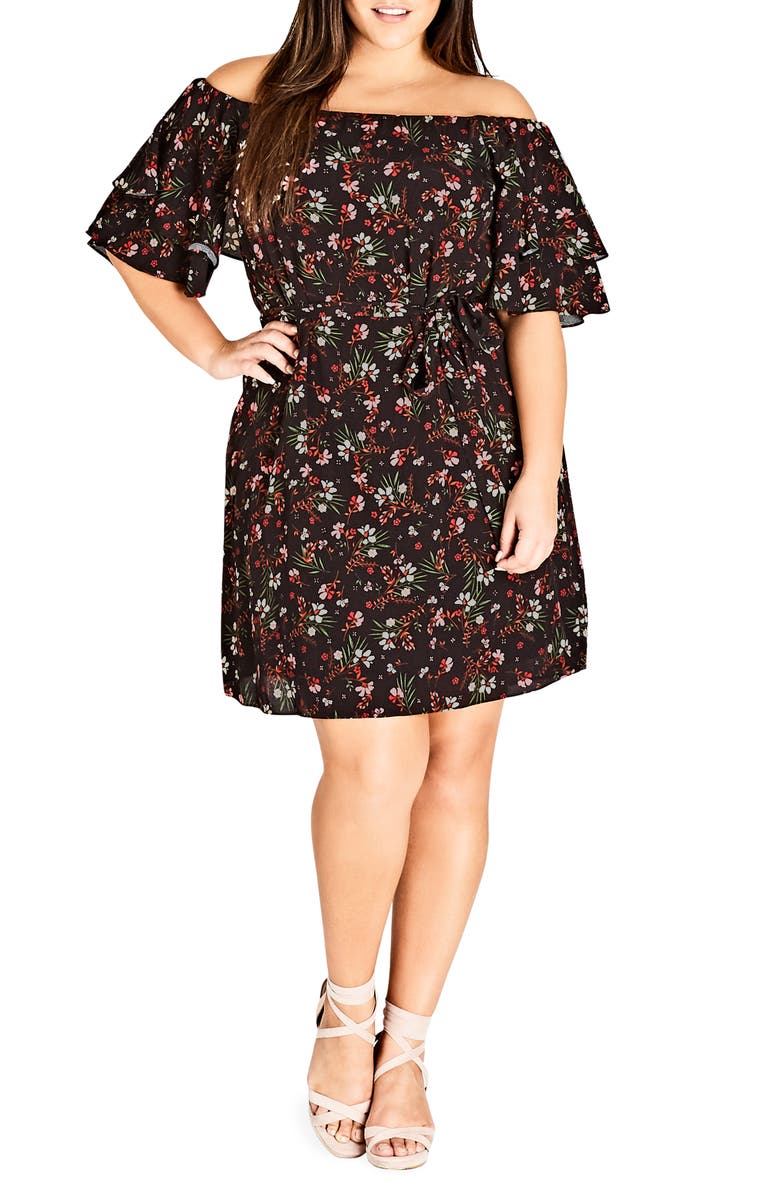 CITY CHIC Fresh Floral Off the Shoulder Dress, Main, color, 602