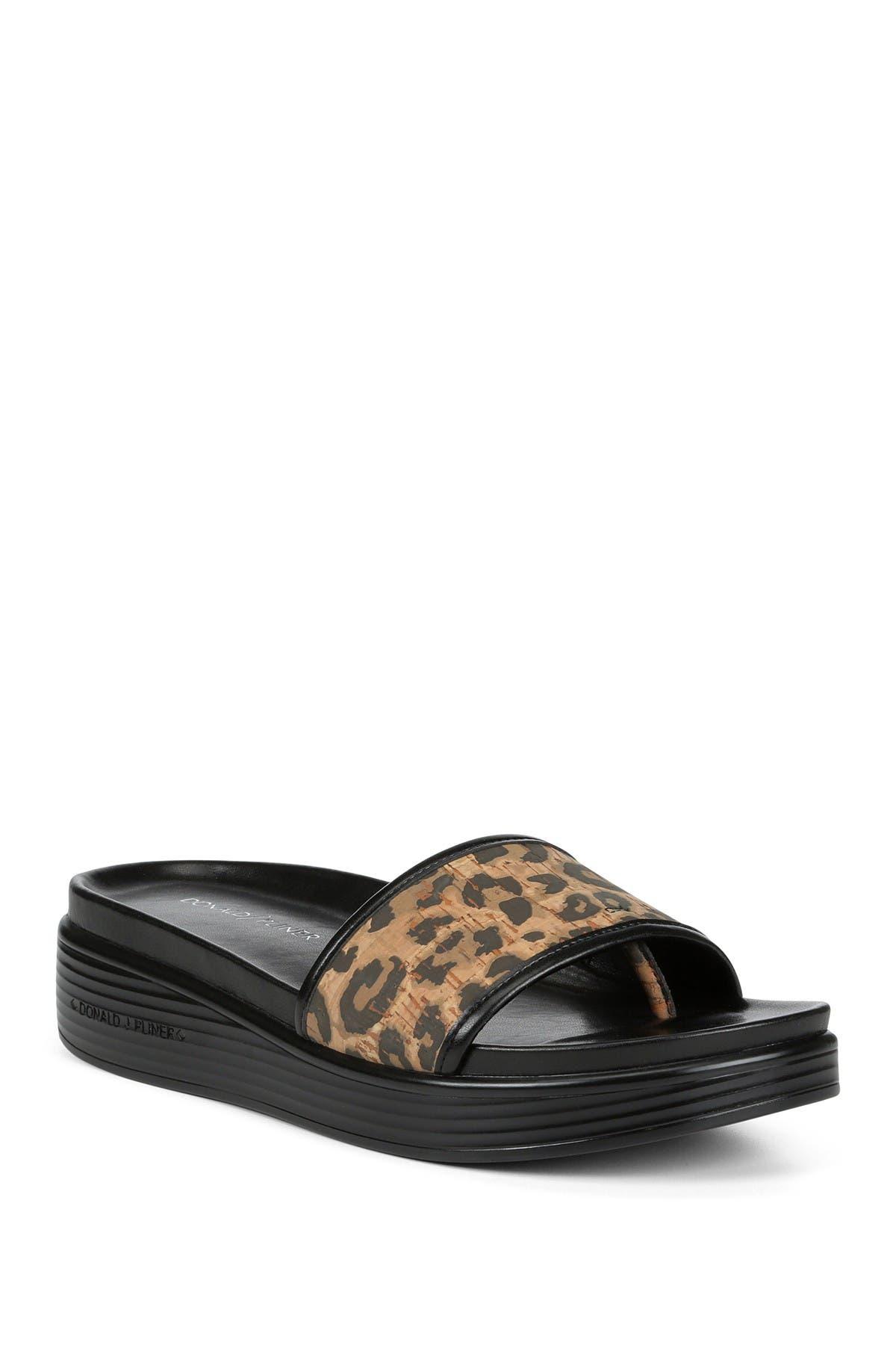 Image of Donald Pliner Fiji Leather Leopard Print Slide Sandal
