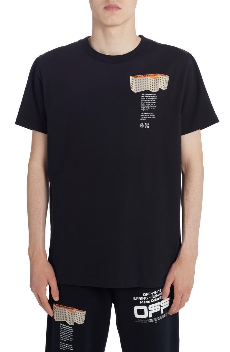 OFF-WHITE Building Short Sleeve Slim T-Shirt, Main, color, BLACK MULTICOLOR