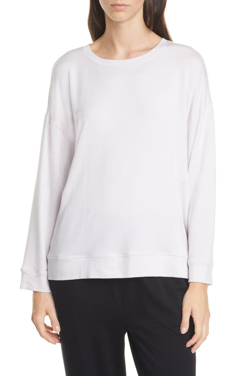EILEEN FISHER Tencel<sup>®</sup> Blend Pullover, Main, color, CERAMIC