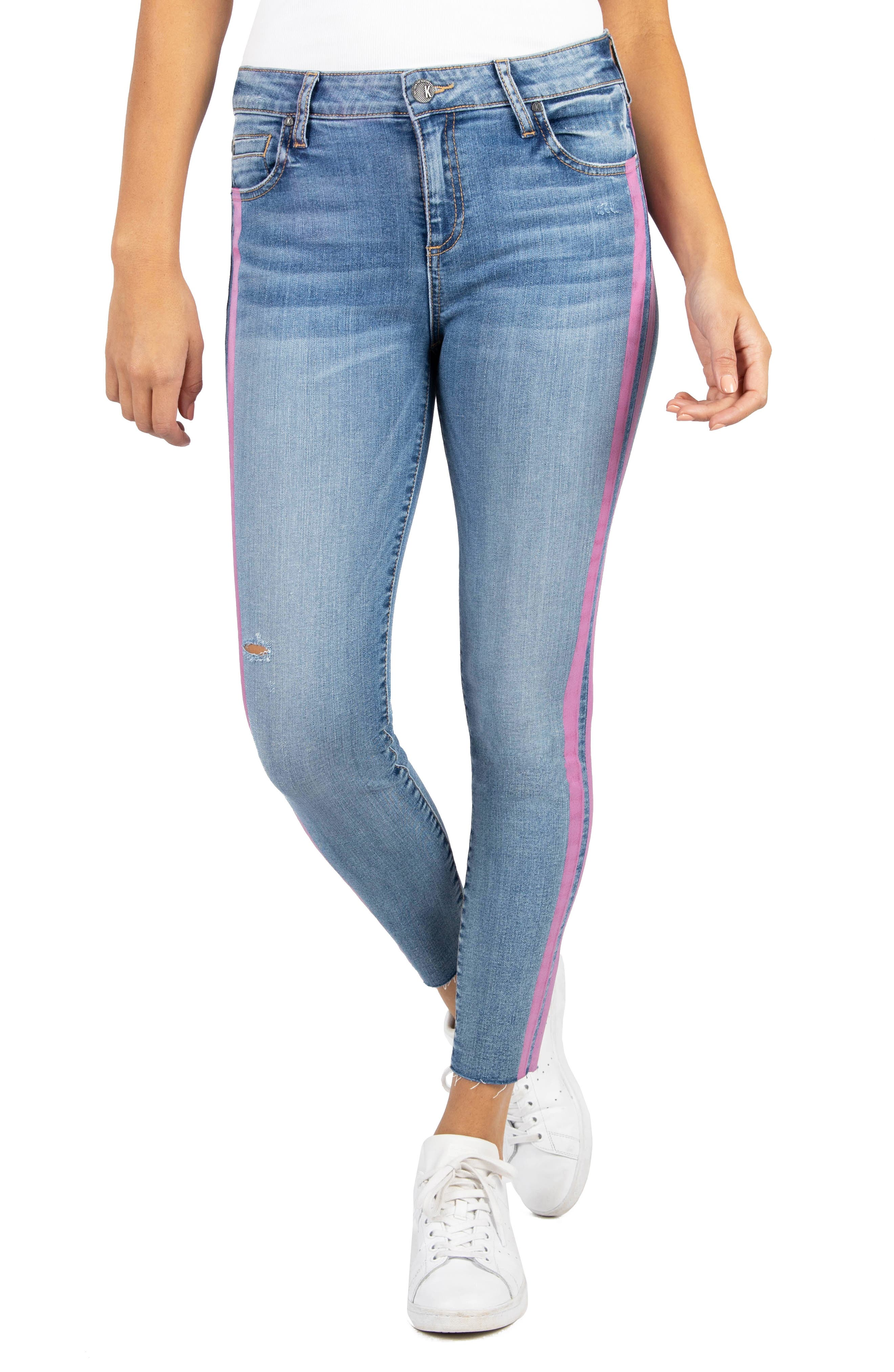 Kut From The Kloth CONNIE SIDE STRIPE HIGH RISE ANKLE SKINNY JEANS