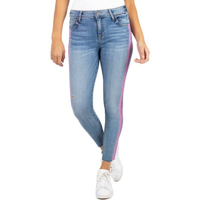 Kut From The Kloth Connie High Waist Side Stripe Ankle Skinny Jeans, Blue