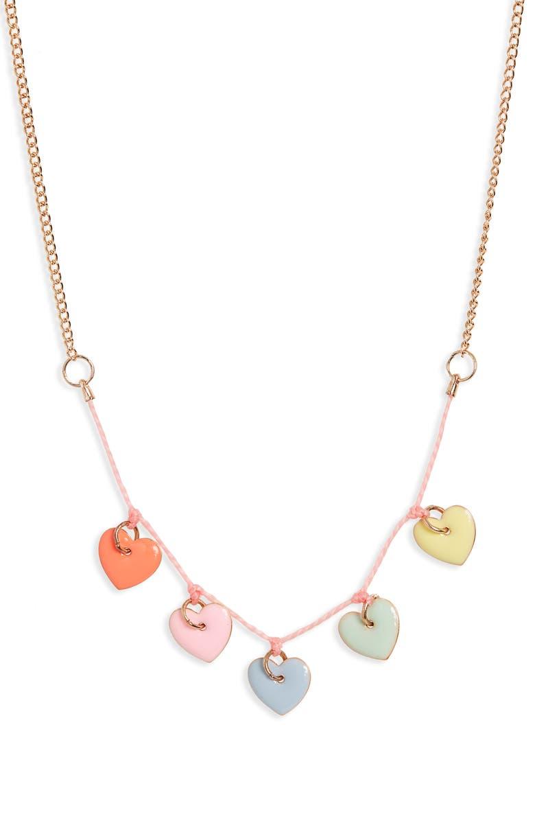 MERI MERI Enamel Hearts Necklace, Main, color, 961
